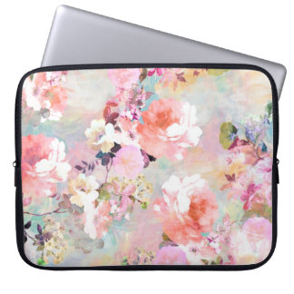 Romantic Pink Teal Watercolor Chic Floral Pattern Laptop Sleeve