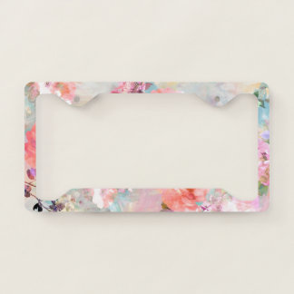 Romantic Pink Teal Watercolor Chic Floral Pattern License Plate Frame