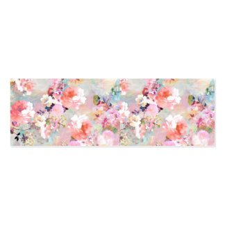Romantic Pink Teal Watercolor Chic Floral Pattern Mini Business Card