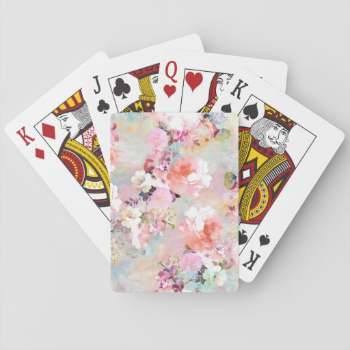 Romantic Pink Teal Watercolor Chic Floral Pattern Playing Cards