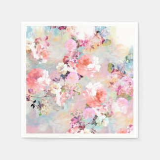 Romantic Pink Teal Watercolor Chic Floral Pattern Disposable Napkins