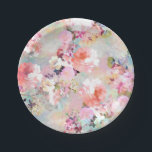 "Romantic Pink Teal Watercolor Chic Floral Pattern Paper Plate<br><div class=""desc"">Romantic Pink Teal Watercolor Chic Floral Pattern . a girly, elegant and chic floral pattern featuring beautiful and preppy vintage victorian roses and peonies in light pink and orchid purple on a modern and abstract pink and teal pastel watercolor strokes pattern . perfect feminine gift for the flower and nature...</div>"