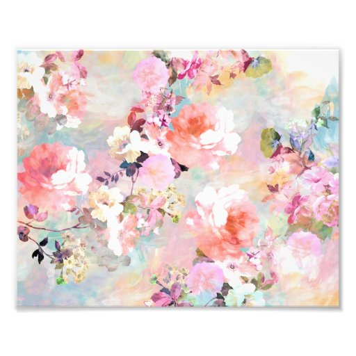 Romantic Pink Teal Watercolor Chic Floral Pattern Photographic Print