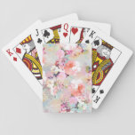 "Romantic Pink Teal Watercolor Chic Floral Pattern Playing Cards<br><div class=""desc"">Romantic Pink Teal Watercolor Chic Floral Pattern . a girly, elegant and chic floral pattern featuring beautiful and preppy vintage victorian roses and peonies in light pink and orchid purple on a modern and abstract pink and teal pastel watercolor strokes pattern . perfect feminine gift for the flower and nature...</div>"