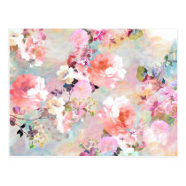 Romantic Pink Teal Watercolor Chic Floral Pattern Postcard