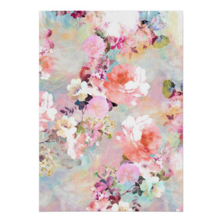 Romantic Pink Teal Watercolor Chic Floral Pattern Print