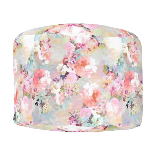 Romantic Pink Teal Watercolor Chic Floral Pattern Pouf