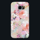 "Romantic Pink Teal Watercolor Chic Floral Pattern Samsung Galaxy S6 Case<br><div class=""desc"">Romantic Pink Teal Watercolor Chic Floral Pattern . a girly, elegant and chic floral pattern featuring beautiful and preppy vintage victorian roses and peonies in light pink and orchid purple on a modern and abstract pink and teal pastel watercolor strokes pattern . perfect feminine gift for the flower and nature...</div>"