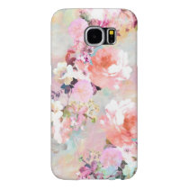 Romantic Pink Teal Watercolor Chic Floral Pattern Samsung Galaxy S6 Case