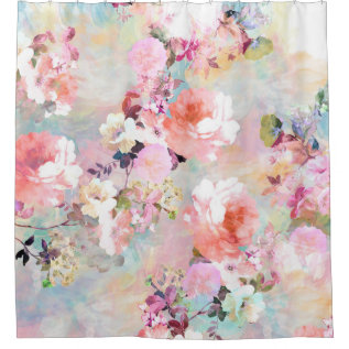 Romantic Pink Teal Watercolor Chic Floral Pattern Shower Curtain at Zazzle