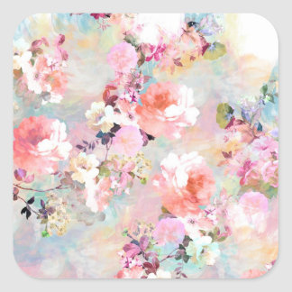 Romantic Pink Teal Watercolor Chic Floral Pattern Square Sticker
