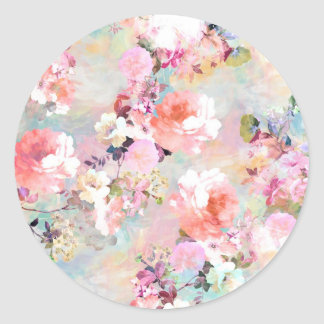 Romantic Pink Teal Watercolor Chic Floral Pattern Round Stickers