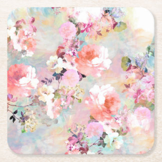 Romantic Pink Teal Watercolor Chic Floral Pattern Square Paper Coaster