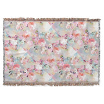 Romantic Pink Teal Watercolor Chic Floral Pattern Throw Blanket