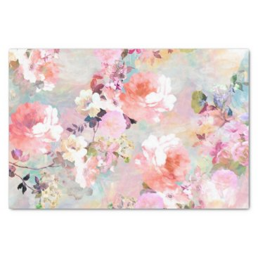 girly_trend Romantic Pink Teal Watercolor Chic Floral Pattern Tissue Paper