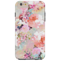 Romantic Pink Teal Watercolor Chic Floral Pattern Tough iPhone 6 Plus Case