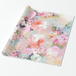 """Romantic Pink Teal Watercolor Chic Floral Pattern Wrapping Paper<br><div class=""""desc"""">Romantic Pink Teal Watercolor Chic Floral Pattern . a girly, elegant and chic floral pattern featuring beautiful and preppy vintage victorian roses and peonies in light pink and orchid purple on a modern and abstract pink and teal pastel watercolor strokes pattern . perfect feminine gift for the flower and nature...</div>"""