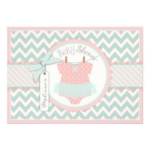 Romantic Pink Tutu & Chevron Print Baby Shower Invites