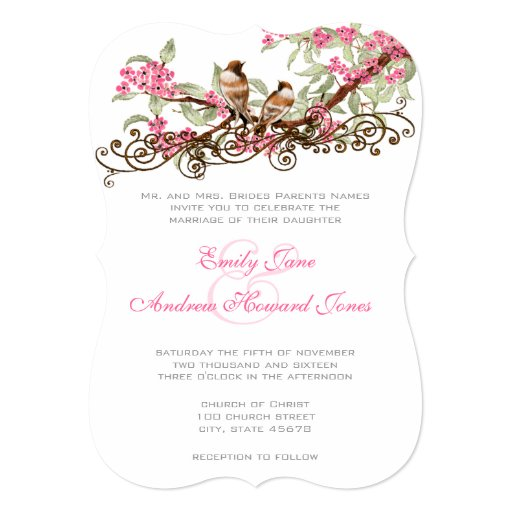 Romantic Pink  Vintage Lovebirds Personalized Invitations