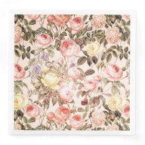 Romantic pink vintage rose flower pattern paper dinner napkin