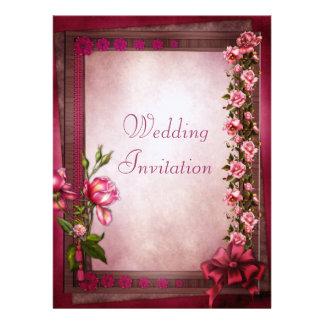 Romantic Pink Vintage Roses Frame Linen Wedding Invitation