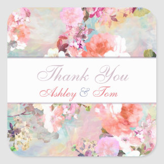 Romantic Pink Watercolor Chic Floral Thank You Square Stickers