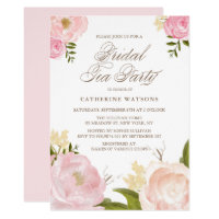 Romantic Pink Watercolor Flowers Bridal Tea Party Invitation