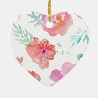 Romantic Pink Watercolor Flowers Ceramic Ornament