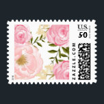 """Romantic Pink Watercolor Flowers Peonies &amp; Roses Postage<br><div class=""""desc"""">A whimsical and feminine stamp featuring watercolor peonies,  roses,  and foliage. This stamp is perfect for weddings,  baby showers,  bridal showers,  and as a part of your personal stationery.</div>"""