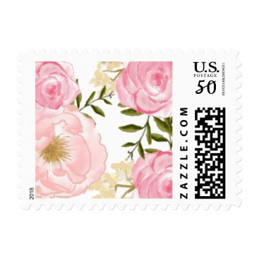 Toddler & Baby themed Romantic Pink Watercolor Flowers Peonies & Roses Postage