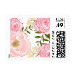 Romantic Pink Watercolor Flowers Peonies & Roses Postage at Zazzle