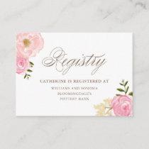 Romantic Pink Watercolor Flowers Registry Card