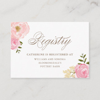 Romantic Pink Watercolor Flowers Registry Card