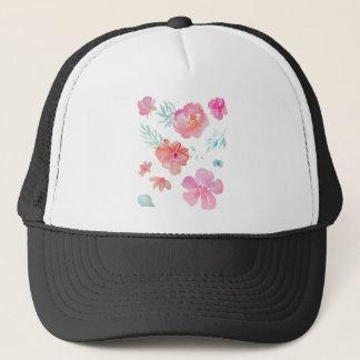 Romantic Pink Watercolor Flowers Trucker Hat