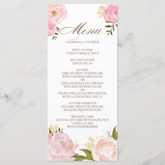 Romantic Pink Watercolor Flowers Wedding Menu Card Zazzle