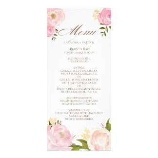 Romantic Pink Watercolor Flowers Wedding Menu Card