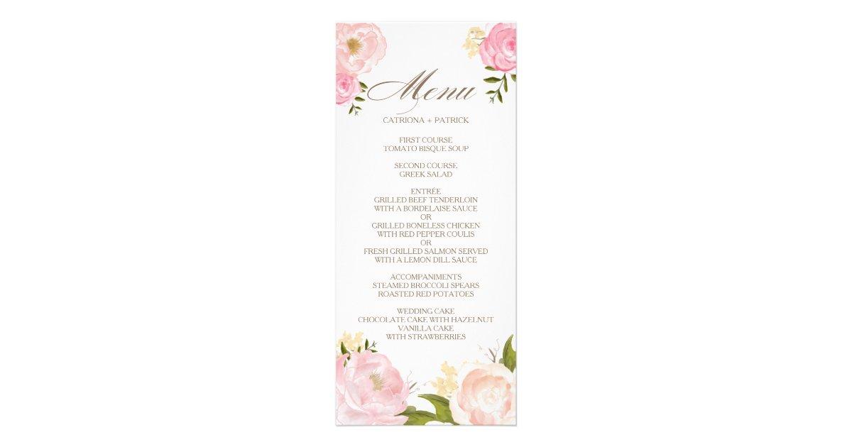 Wedding menu wedding menu ideas romantic pink watercolor flowers wedding menu card junglespirit Images