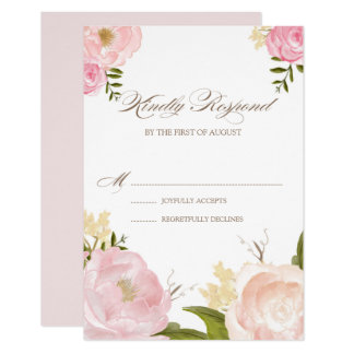 Romantic Pink Watercolor Flowers Wedding RSVP Card