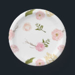 "Romantic Pink Watercolor Garden Floral Paper Plate<br><div class=""desc"">Romantic Pink Watercolor Garden Floral</div>"