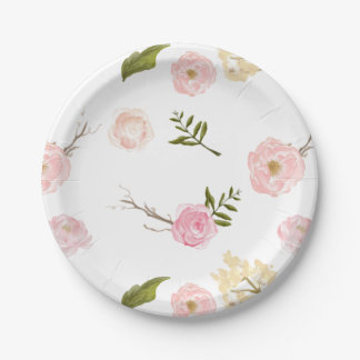 Romantic Pink Watercolor Garden Floral Paper Plate