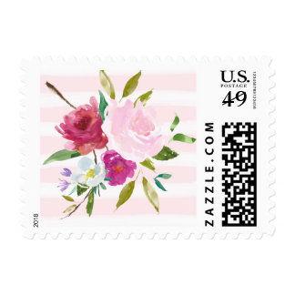 Romantic Pink Watercolor Stripes Floral Postage