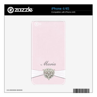 Romantic pink with a bit of bling decal for iPhone 4