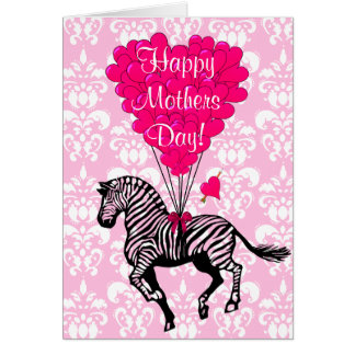 Romantic pink zebra mothers day card