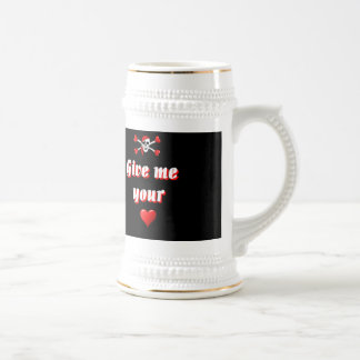 Romantic Pirate and Vaentines love hearts Beer Stein