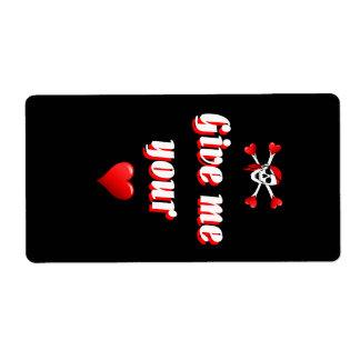 Romantic Pirate and Vaentines love hearts Label