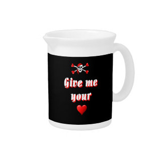 Romantic Pirate and Vaentines love hearts Beverage Pitchers