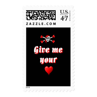 Romantic Pirate and Vaentines love hearts Postage