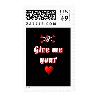 Romantic Pirate and Vaentines love hearts Postage Stamps