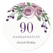 Romantic Plum Purple Rose Floral 90th Birthday Classic Round Sticker