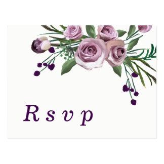 Romantic Plum Purple Rose Floral Wedding RSVP Postcard